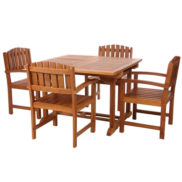 Evans Butterfly 5 Piece Teak Dining Set Dining Set with Cushions