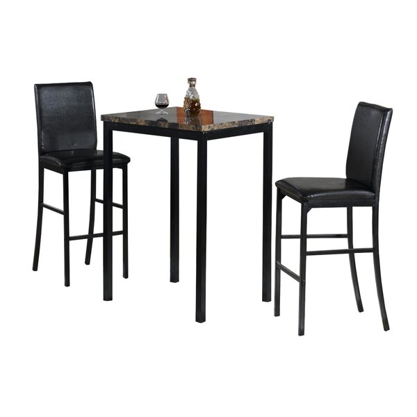 Della 3 Piece Bistro Pub Table Set by Hazelwood Home