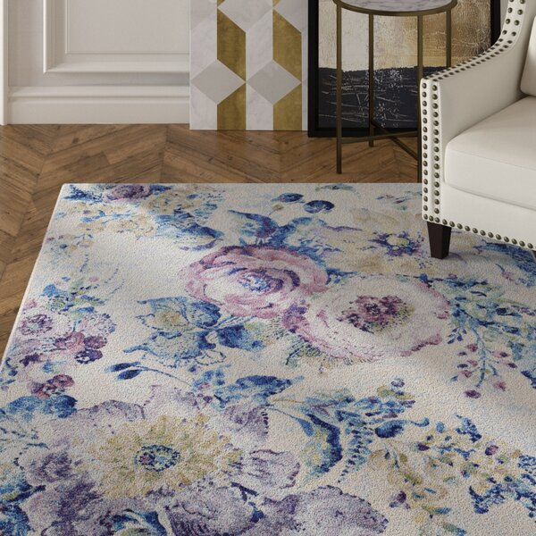 Nicole Bone/Ocean Blue Area Rug by House of Hampton