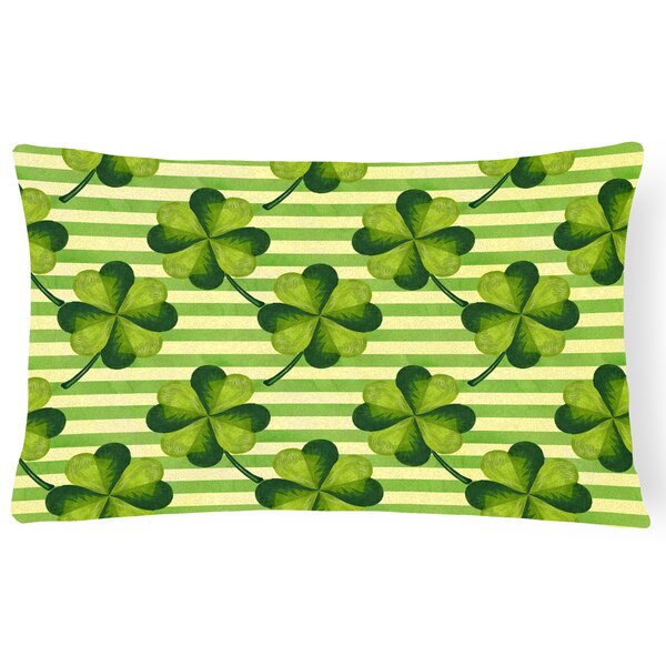 Fargo Watercolor Shamrock Stripes Indoor/Outdoor Throw Pillow by The Holiday Aisle