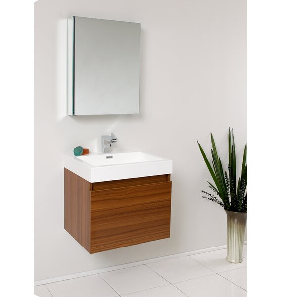 Senza 24 Wall Mounted Single Bathroom Vanity Set with Mirror by FrescaSenza 24 Wall Mounted Single Bathroom Vanity Set with Mirror by Fresca