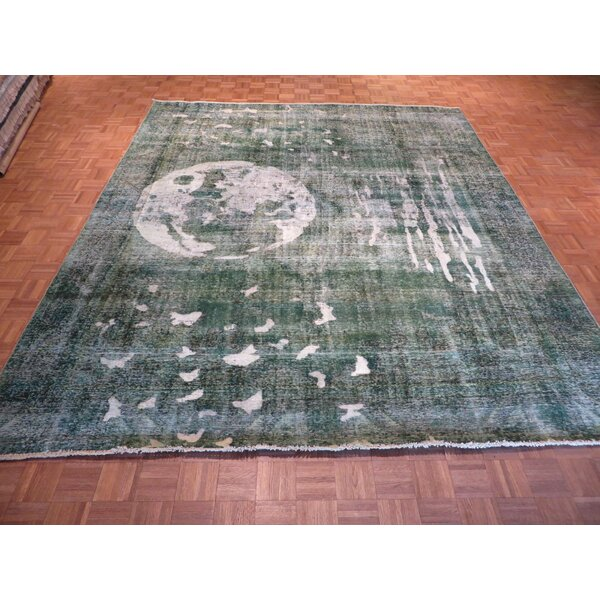One-Of-A-Kind Padro Moon Hand-Knotted Wool Light Green Area Rug By Bloomsbury Market.