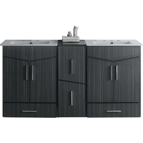 Mcfarren 62 Wall-Mounted Double Bathroom Vanity Set