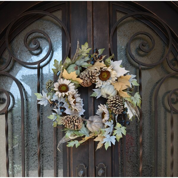 Artificial Sunflower and Pumpkin Rustic 28 Wreath by August Grove