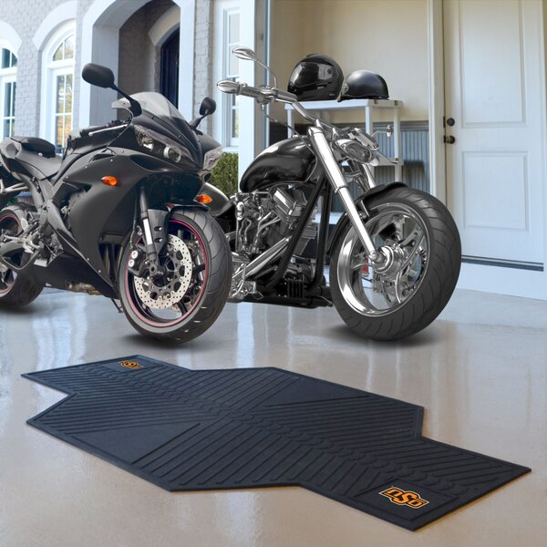 NCAA Oklahoma State University Motorcycle Garage Flooring Roll in Black by FANMATS