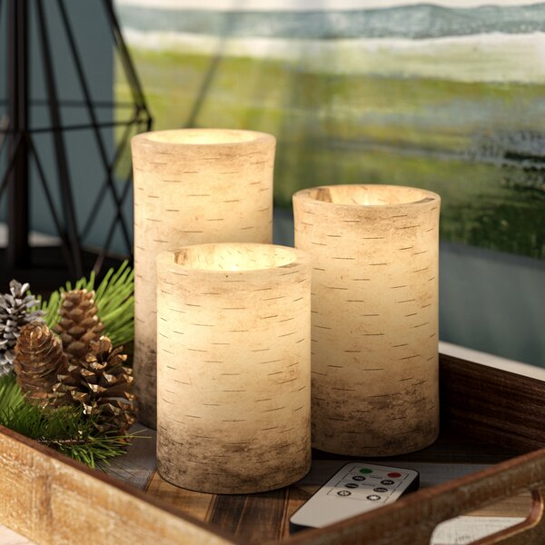 4 Piece Birch Bark Flameless LED Wax Vanilla Frameless Candle Set by Union Rustic