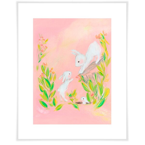 Archie Bunny Family Paper Print by Harriet Bee