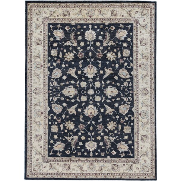 One-of-a-Kind Hand-Knotted Beige/Blue 9'10 x 13'3 Wool Area Rug