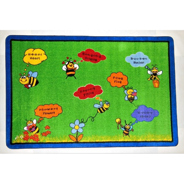 Hartsville Spelling Bee Green Area Rug by Zoomie Kids