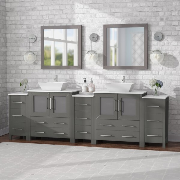 Karson 96 Double Bathroom Vanity Set with Mirror by Wade Logan