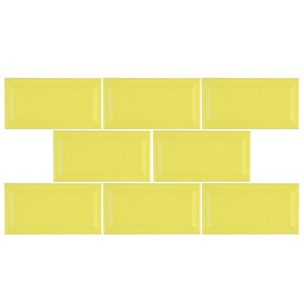 Prospect 3 x 6 Beveled Ceramic Subway Tile in Canary Yellow by EliteTile