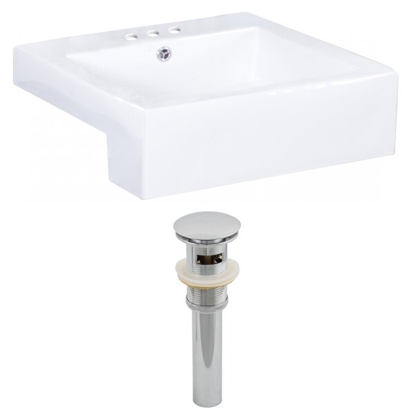 Xena Farmhouse Ceramic Rectangular Vessel Bathroom Sink with Overflow by Royal Purple Bath Kitchen