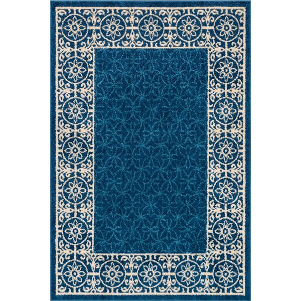 Otterville Handwoven Polypropylene Royal Blue/Ivory Area Rug by Charlton Home