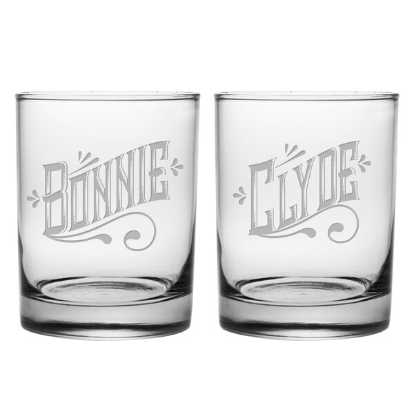 Rigney Bonnie and Clyde Rocks Glass 2 Piece Assorted Wine Glass Set by Wrought Studio