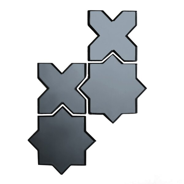 Echo Celestial 6 x 6 Mirror Glass Mosaic Tile in Graphite by Abolos