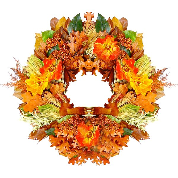 22 Autumn Poppy Wreath by Dried Flowers and Wreaths LLC