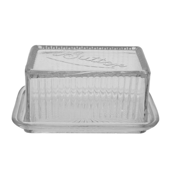 Pete Pressed Glass Butter Dish by Mint Pantry