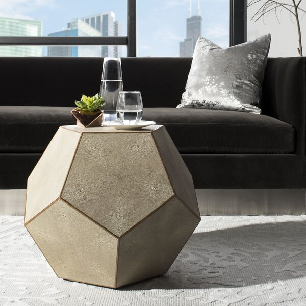 Fay Faux Shagreen End Table by Bungalow Rose