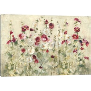 'Hollyhocks Row Cool' Print by East Urban Home