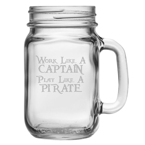 Work Like a Pirate Drinking Jar (Set of 4) by Susquehanna Glass