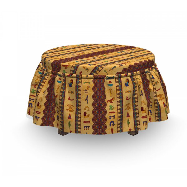 Egyptian Hieroglyphs 2 Piece Box Cushion Ottoman Slipcover Set By East Urban Home