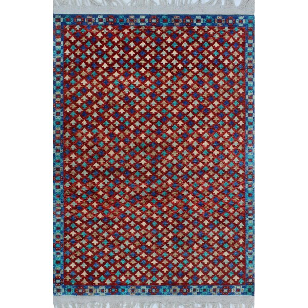 One-of-a-Kind Millender Baako Hand-Knotted Wool Red Are Rug by Bloomsbury Market