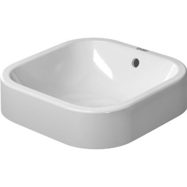 Happy D. Ceramic Square Vessel Bathroom Sink with Overflow by Duravit