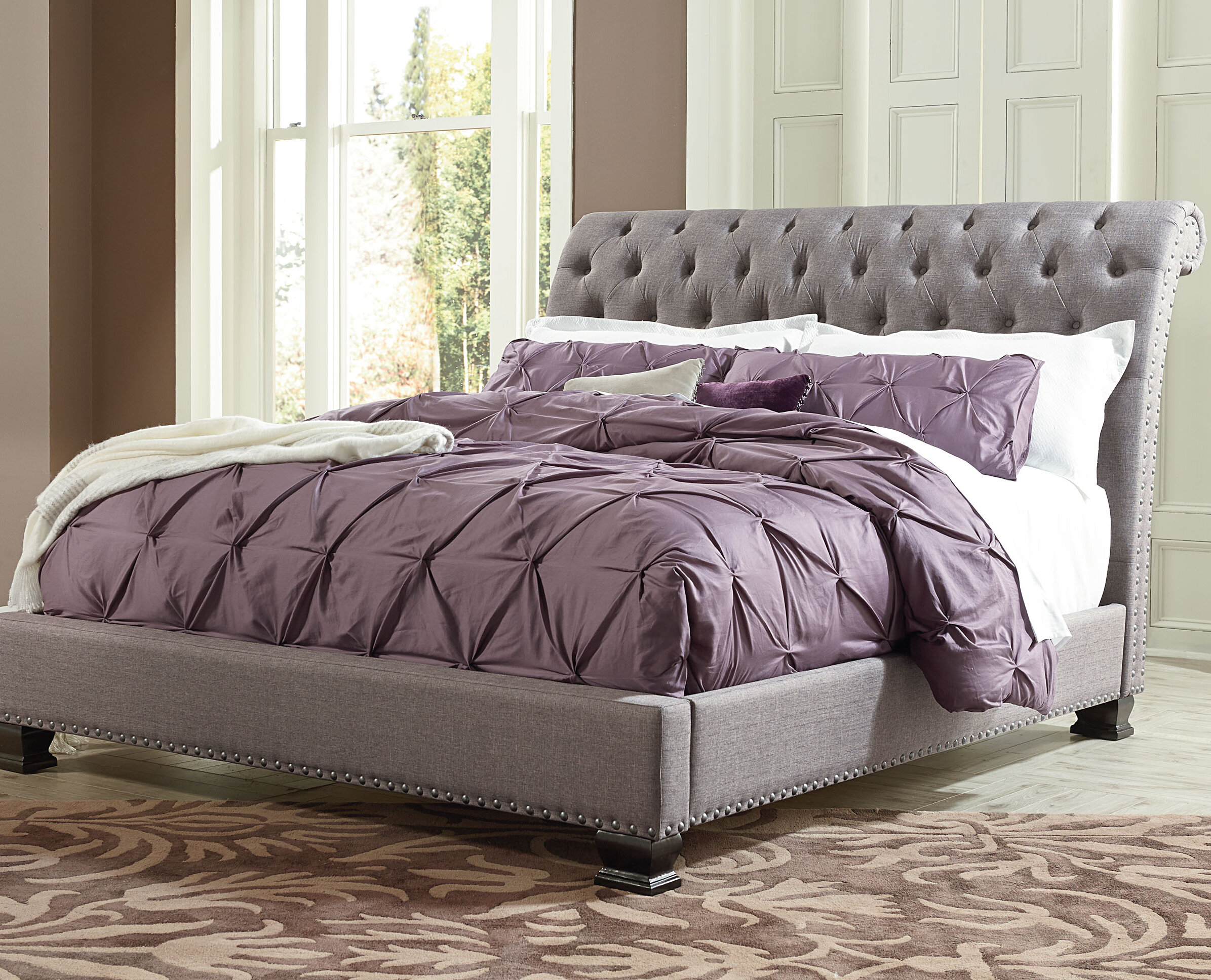 - World Menagerie Derrell Upholstered Sleigh Bed & Reviews Wayfair