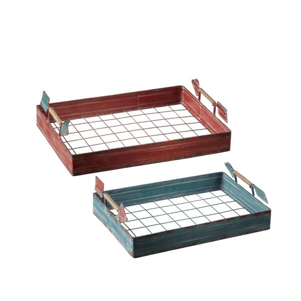 Kiel Arrow Handle Red/Green Tray Set (Set of 2) by Gracie Oaks
