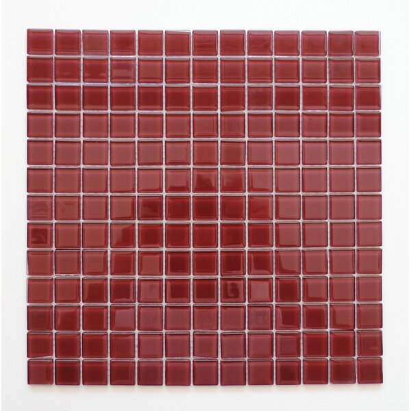 Montreal 0.9 x 0.9 Glass Mosaic Tile in Plum Red by The Mosaic Factory