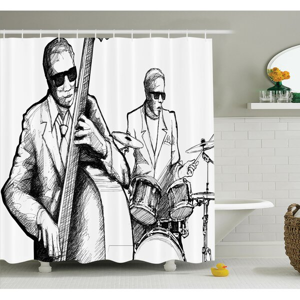 Music Jazz Band Shower Curtain Set by Ambesonne