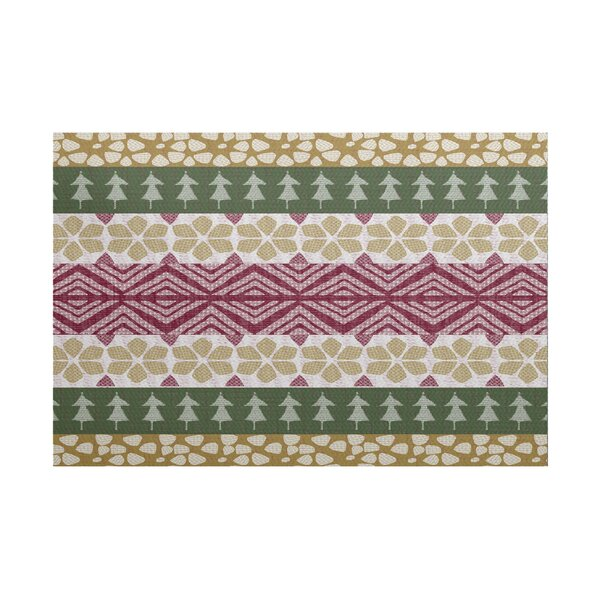 Fair Isle Green/Beige Indoor/Outdoor Area Rug by The Holiday Aisle