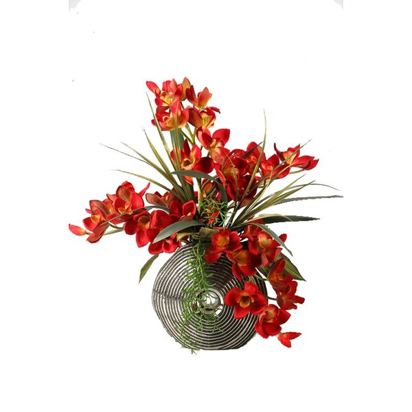 Cymbidium Orchids with Foliage and Succulents in Ceramic Planter by Bay Isle Home