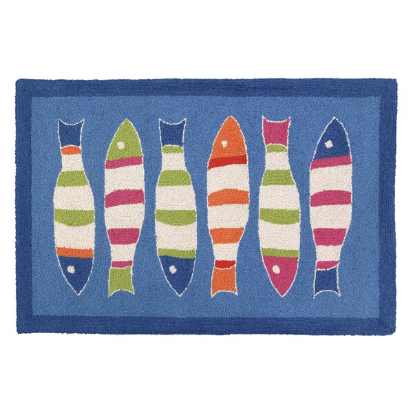Picket Fish Blue Hooked Area Rug by Kate Nelligan