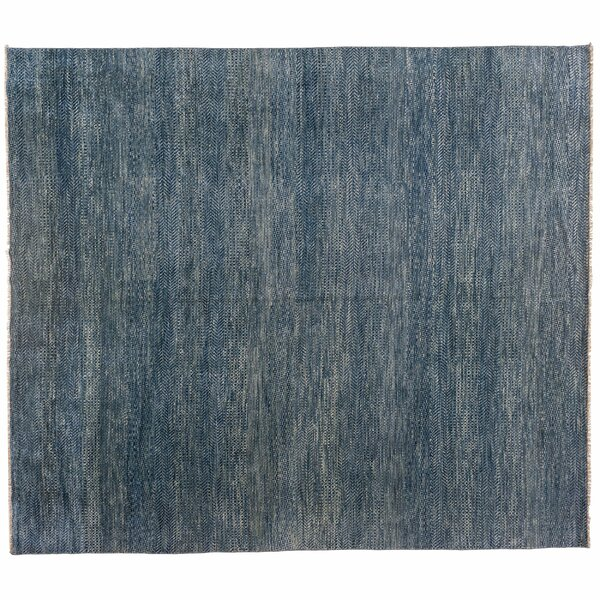 One-of-a-Kind Hand-Knotted Blue 10'10 x 12'5 Wool Area Rug