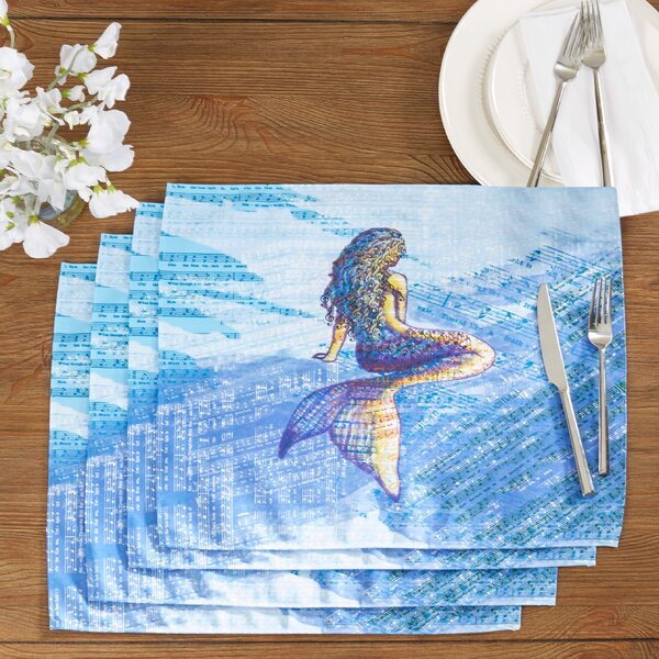 Cedarville Mermaid Geometric Print Placemat (Set of 4) by Highland Dunes