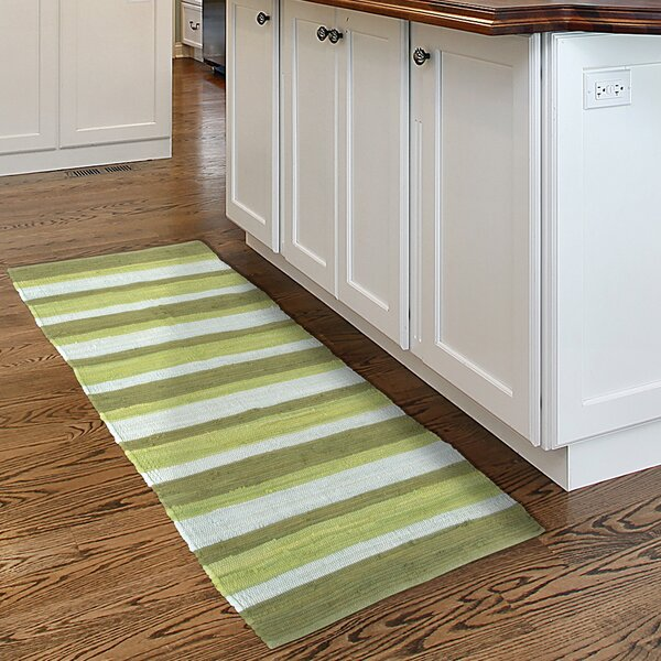 Sandeep Stripe Accent Hand-Woven Green Area Rug by Highland Dunes