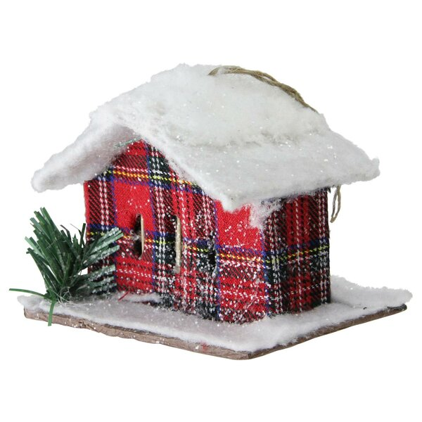 Christmas Plaid Snow Covered Cabin by The Holiday Aisle