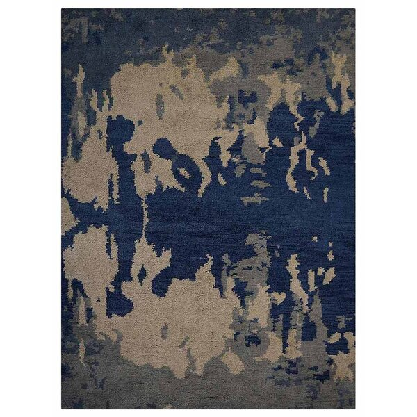 Johns Contemporary Hand-Knotted Wool Blue/Beige Area Rug by Latitude Run