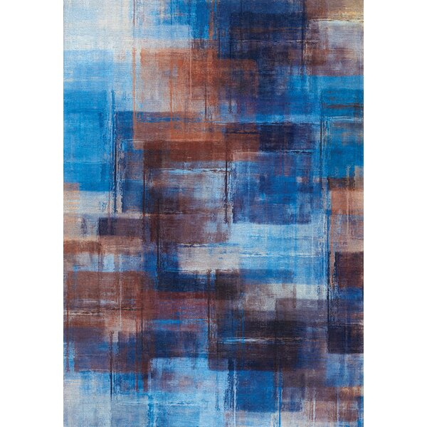 John Overlapping Paint Blue/Orange Area Rug by 17 Stories