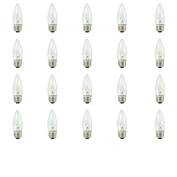 E26 Dimmable Krypton Candle Light Bulb (Set of 20) by Bulbrite Industries