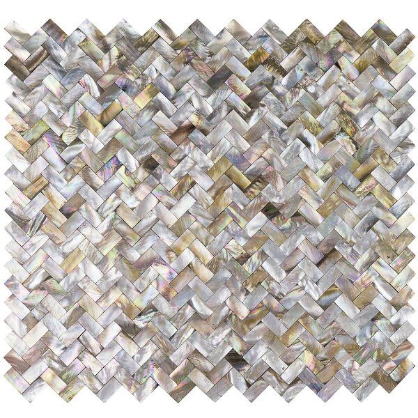 Lokahi Brume Random Sized Glass Pearl Shell Mosaic Tile in Gold by Splashback Tile