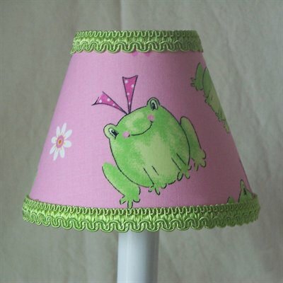 Leapin Frogs 7 H Fabric Empire Lamp Shade ( Screw On ) in Green/Pink