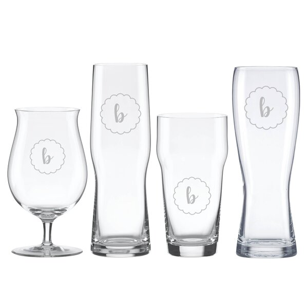 Navy Scallop Tuscany Monogram 4 Piece Crystal Assorted Glassware Set by Lenox