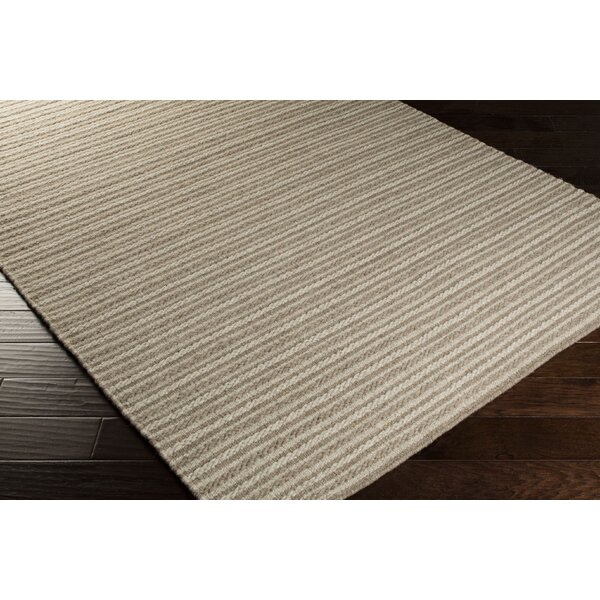 Cedar Oatmeal/Dark Taupe Striped Rug by Union Rustic