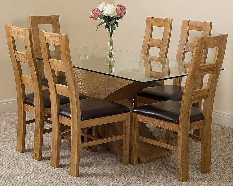 Ediz Solid Oak Leather Glass Dining Set with 6 Chairs