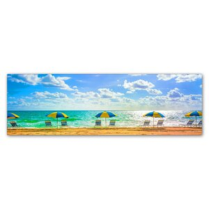 'Florida Beach Chairs Umbrellas' by Preston Photographic Print on Wrapped Canvas by Trademark Fine Art