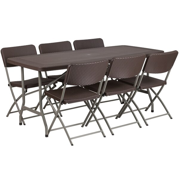 Rattan Plastic 67.5 Rectangular Folding Table with 6 Chairs by Flash Furniture