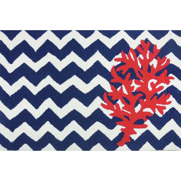 Orlando Chevron And Coral Area Rug by Breakwater Bay
