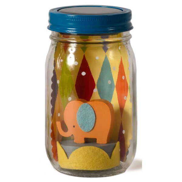 Elephant Mason Jar Solar Night Light by Tree by Kerri Lee
